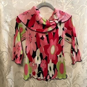 Cleo Pink Printed Long Sleeve Cowl Neck Shirt